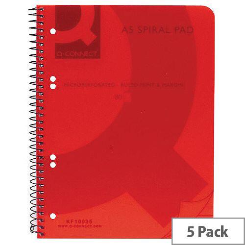 Q-Connect Spiral Book A5 Polypropylene Transparent Pink 5 Pack KF10035