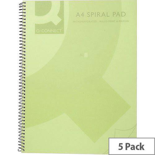 Q-Connect Spiral Book A4 Polypropylene Transparent Green 5 Pack KF10036