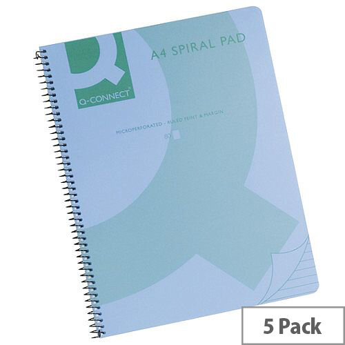 Q-Connect Spiral Book A4 Polypropylene Transparent Blue 5 Pack KF10037