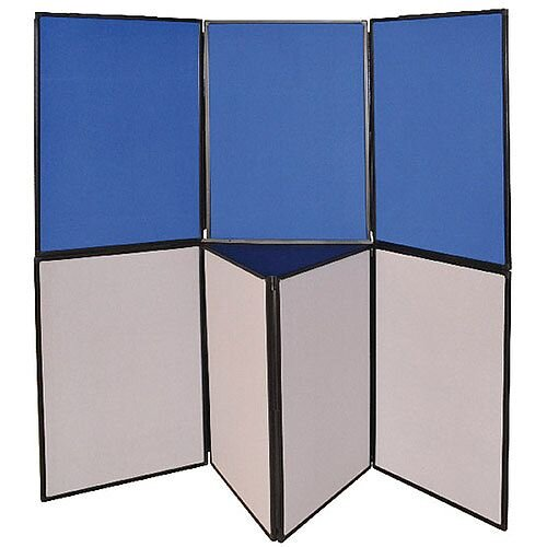Display Board Double Sided 6 Panel Blue &Grey H900 x W600mm Q-Connect DSP330516