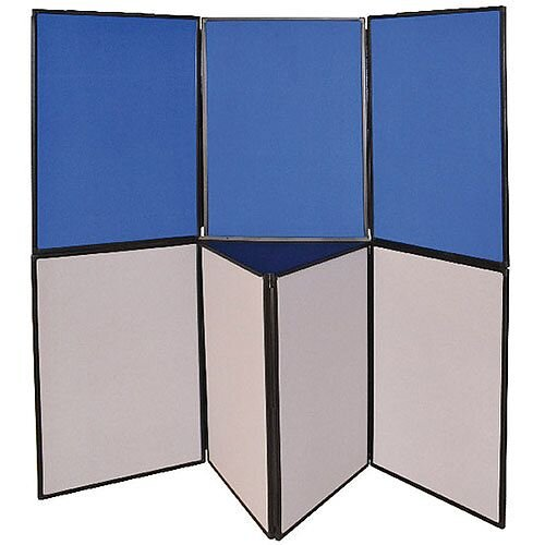 Display Board Double Sided 3 Panel Blue &Grey  H900 x W600mm Q-Connect DSP330513