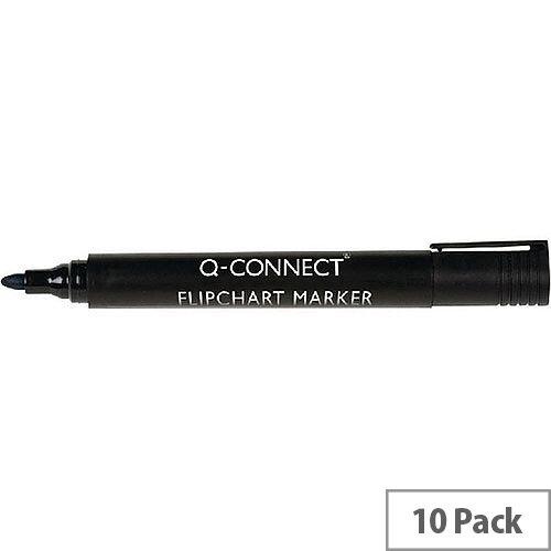 Q-Connect Flipchart Marker Bullet Tip Black 10 Pack KF15392