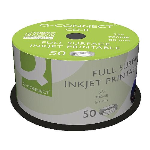 image about Printable Cds referred to as Q-Communicate Inkjet Printable CD-R Spindle - For information and facts and new music - 52x Rate, 700MB/80 Instant Ability - (Pack of 50)