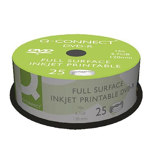 Q-Connect Inkjet Printable DVD-R Spindle Pack 25