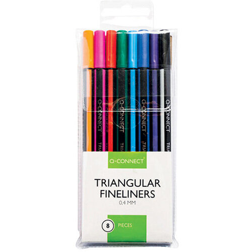 Q-Connect Triangular Fineliners Assorted Colour Pack of 8 KF18050