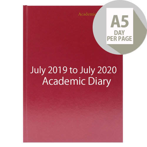 Academic Diary Day Per Page 2019-20 A5 Burgundy KF1A5ABG19