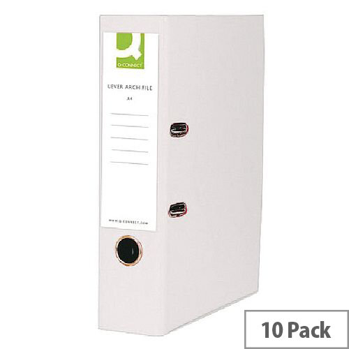 Q-Connect Lever Arch File A4 Polypropylene White 10 Pack