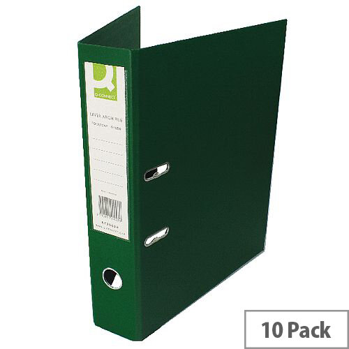Q-Connect Lever Arch File Foolscap Polypropylene Green 10 Pack