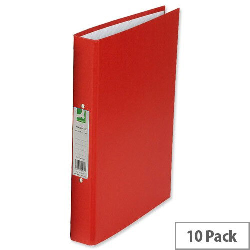 Q-Connect 2-Ring Binder A4 25mm Paper Over Board Red (Pk 10) KF20036