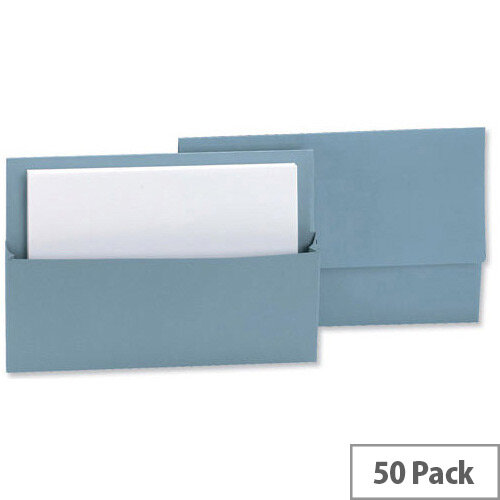 Document Wallet Half Flap Foolscap Blue Pack 50 Q-Connect