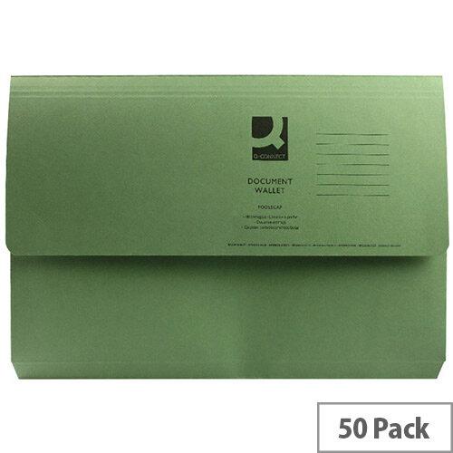 Document Wallet Half Flap Foolscap Green Pack 50 Q-Connect