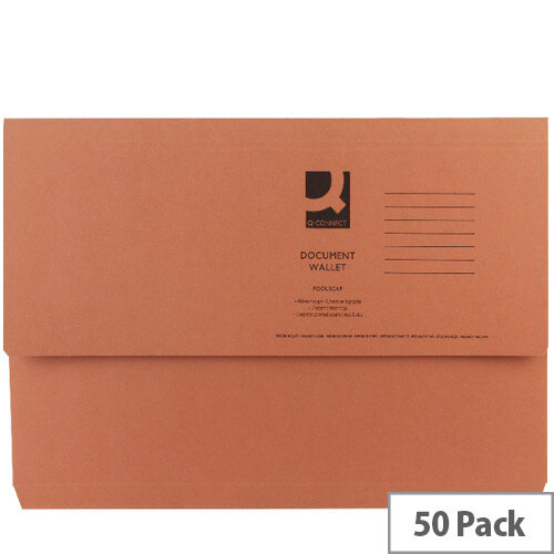Document Wallet Half Flap Foolscap Orange Pack 50 Q-Connect