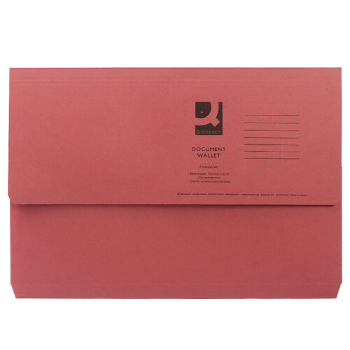Document Wallet Half Flap Foolscap Red Pack 50 Q Connect