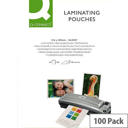 Q-Connect Laminating Pouch A5 250 Microns (125 Microns Each Side) - Suitable For Notices, Posters, Signage &More. Ideal In Offices, Schools, Homes &More.