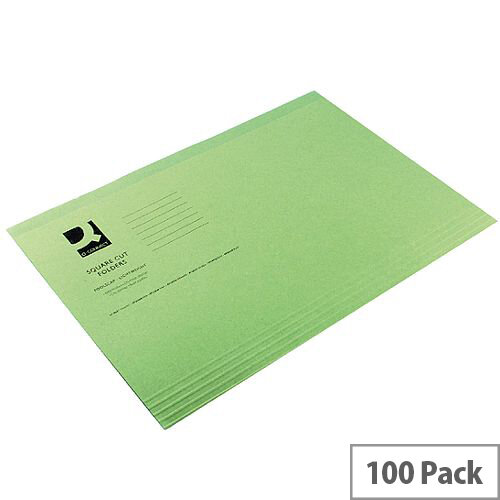 Q-Connect Square Cut Folder Light-Weight 180gsm Foolscap Green Pk 100 KF01189