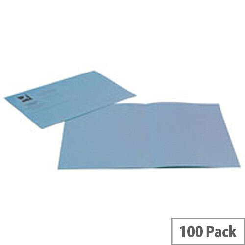 Q-Connect Square Cut Folder Light-Weight 180gsm Foolscap Blue Pk 100