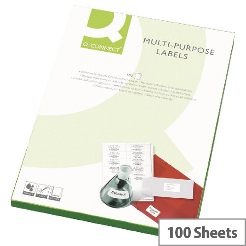 Q-Connect 16 Per Sheet Multi-Purpose Labels 99.1x34mm (1600 Labels)