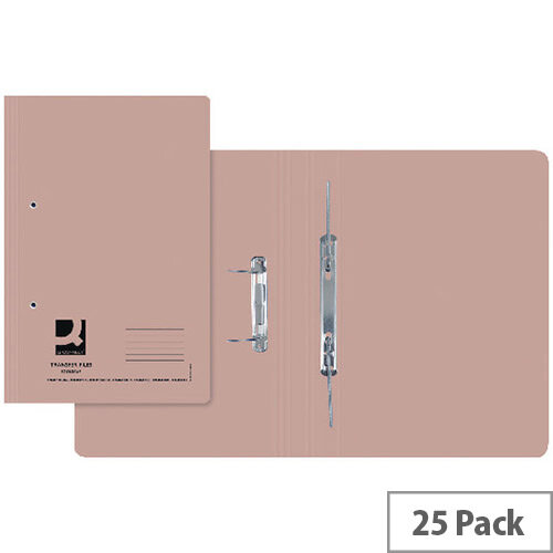 Q-Connect Transfer File Foolscap/A4 35mm Capacity Buff Pack 25