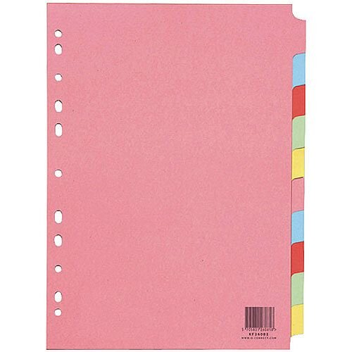 Q-Connect A4 Subject Divider Multi-Punched 10 Part Pack of 25 KF26082Q