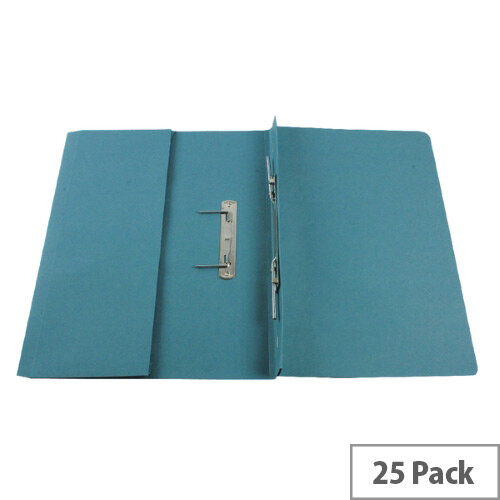 Q-Connect Transfer Pocket File Foolscap 38mm Capacity Blue Pack 25