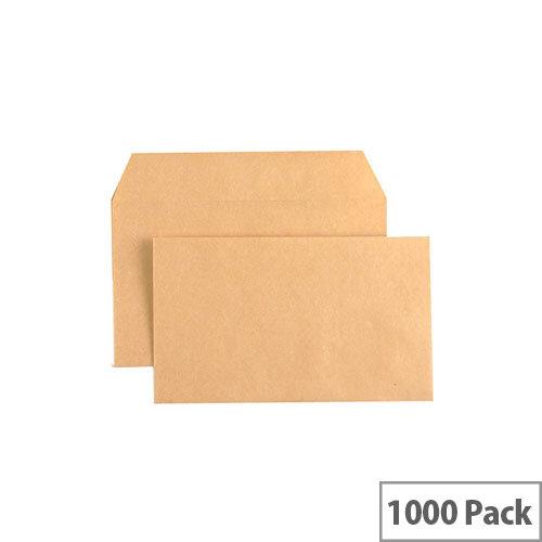 Q-Connect Gummed Manilla Wallet Envelopes 89x152mm 70gsm Pack of 1000