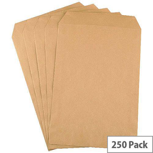 Q-Connect C4 Mediumweight Manilla 90gsm Envelopes Pocket Press Seal Pack 250 KF3419