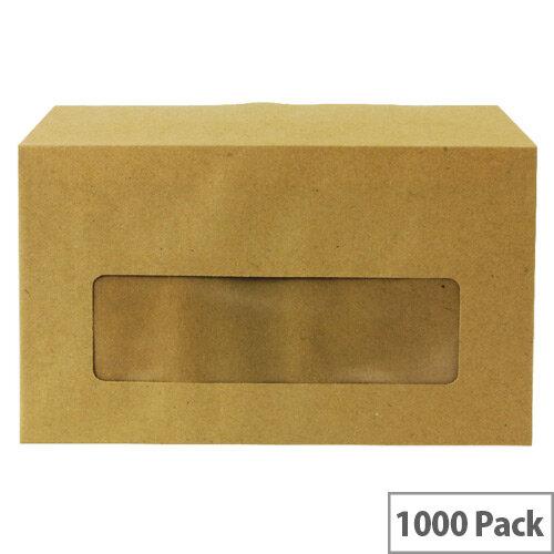 Q-Connect Centre Window Gummed Manilla Wallet Envelopes 89x152mm 70gsm Pack of 1000