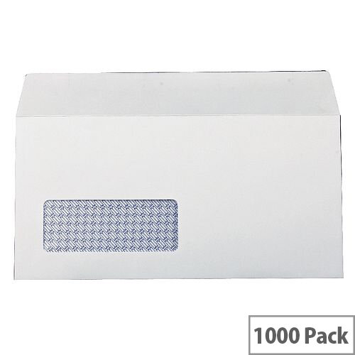 Q-Connect Envelope DL Low Window 100gsm White Self-Seal Pack of 1000 KF3515