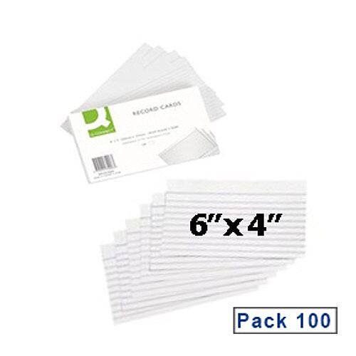 Q Connect Record Cards Ruled Both Sides 6x4inch White Pack 100