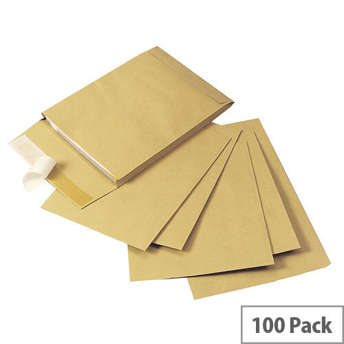 Q-Connect Gusset Envelopes 406x305x25mm 120gsm Manilla Peel and Seal Pack of 100