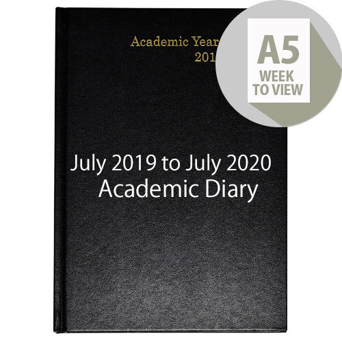 Academic Diary Week to View 2019-20 A5 Black KF3A5ABK19