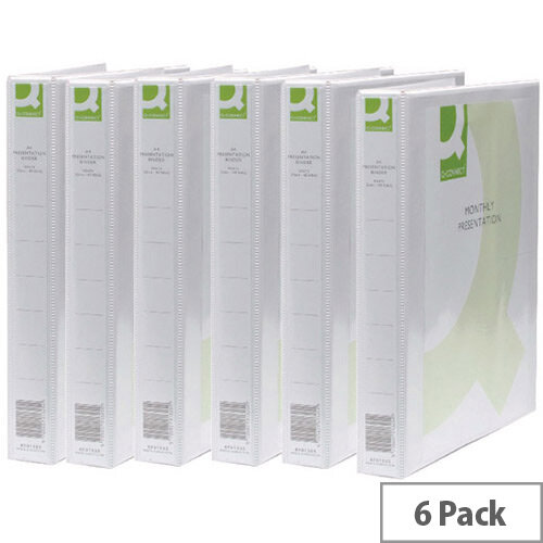 Q-Connect Presentation 2D-Ring Binder 25mm A4 White Pack 6