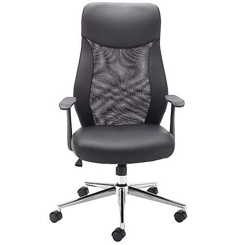 Jemini Mesh High Back Leather Look Office Chair With Integral Headrest &Chrome Base