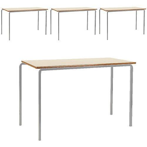 Pack of 4 MDF Edge Classroom Tables 1100x550x710mm Beech Silver Frame Jemini KF74558