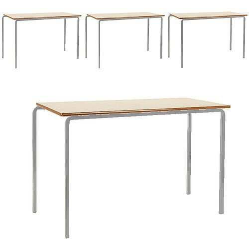 Pack of 4 MDF Edge Classroom Tables 1200x600x710mm Beech Silver Frame Jemini KF74559