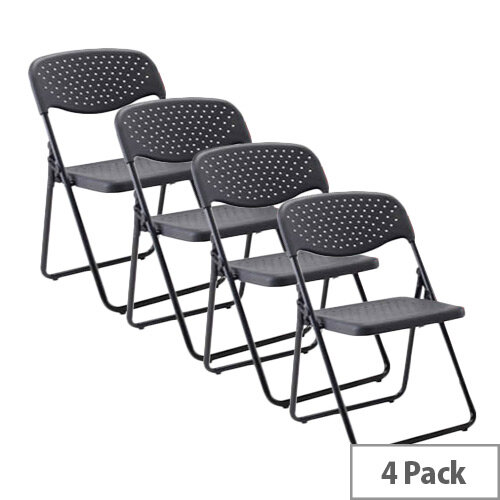 Jemini Folding Chair Black  Pack of 4 KF7493