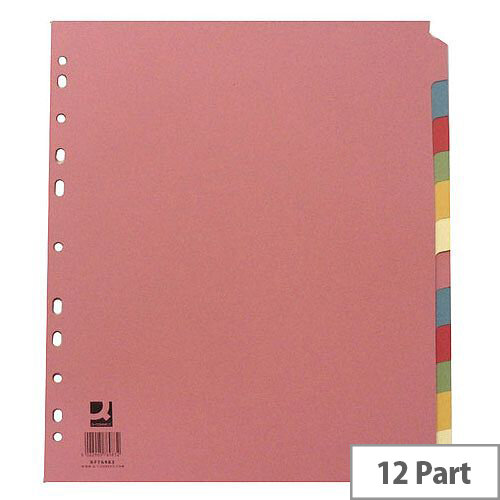 Extra Wide Subject Divider Multi-Punched A4 12-Part Assorted Colours Q-Connect