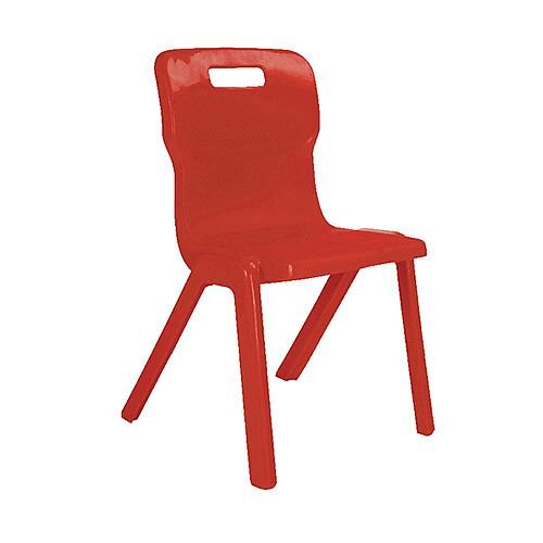 Titan One Piece School Chair Size 4 380mm Red Pack of 30