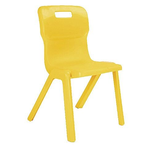 Titan One Piece School Chair Size 4 380mm Yellow Pack of 30