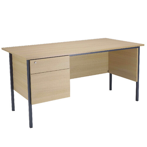 Jemini Intro W1800mm 4 Leg Office Desk With 2 Drawer Fixed Pedestal Warm Maple KF838791