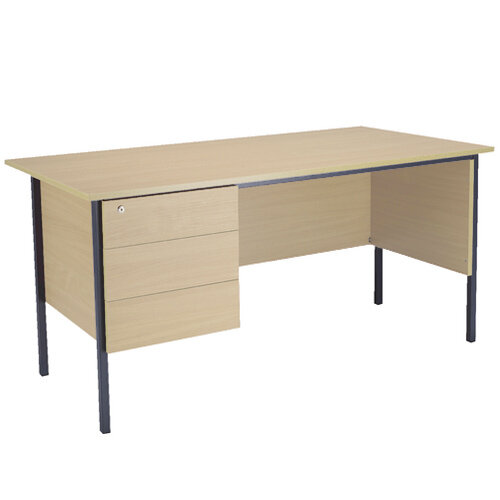 Jemini Intro W1800mm 4 Leg Office Desk With 3 Drawer Fixed Pedestal Warm Maple KF838815