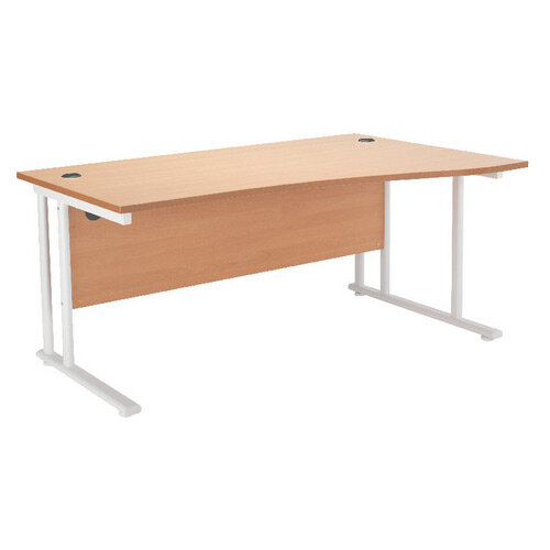 First Wave Right Hand Office Desk 1600mm Beech with White Double Cantilever Leg KF838922