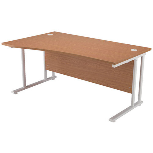 First Wave Left Hand Office Desk 1600mm Oak with White Double Cantilever Leg KF838923