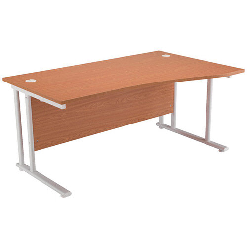 First Wave Right Hand Office Desk 1600mm Oak with White Double Cantilever Leg KF838924
