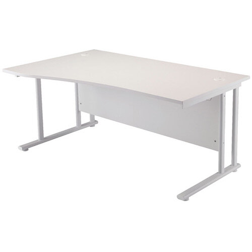 First Wave Left Hand Office Desk 1600mm White with White Double Cantilever Leg KF838925