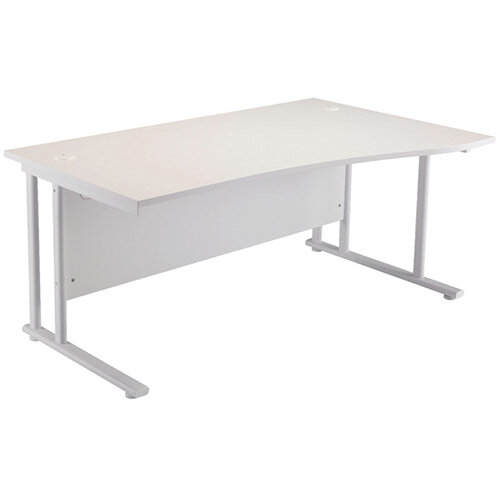 First Wave Right Hand Office Desk 1600mm White with White Double Cantilever Leg KF838926