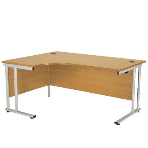 Radial Left Hand 1600mm Wide Double Cantilever Silver Leg Office Desk In Oak