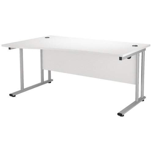 First Wave Left Hand Office Desk 1600mm Beech with Silver Double Cantilever Leg KF838951