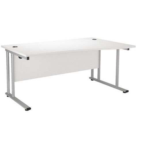 First Wave Right Hand Office Desk 1600mm Beech with Silver Double Cantilever Leg KF838952