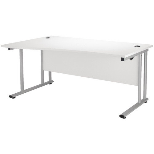 First Wave Left Hand Office Desk 1600mm White with Silver Double Cantilever Leg KF838955